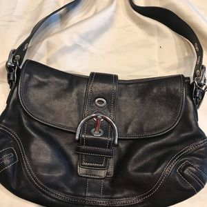 Black soft leather Coach purse